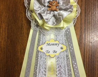 Mommy To Be Corsage / Neutral Baby Shower Corsage/ Bear Baby Shower Decor/ Yellow, Grey and Silver Baby Shower/ Elegant Pin.