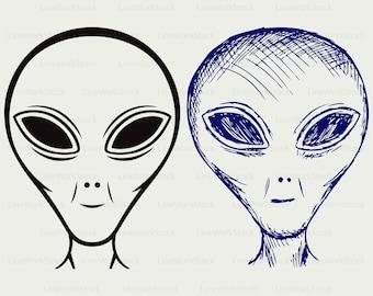 Alien ufo face extraterrestrial svg,alien clipart,alien svg,silhouette,alien cricut cut files,alien clip art,digital download svg,png,dxf