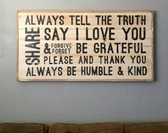 Family Values Subway Art // Family Rules // Family Sayings // Farmhouse Rustic Sign // Say I Love You // Be Grateful // Be Humble and Kind