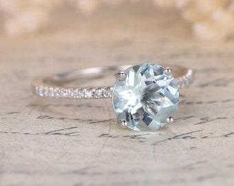 Valentine's Day Gift 6.5mm Aquamarine Solitaire Ring Round Aquamarine Engagement Ring Solid 14K gold March Birthstone Ring Anniversary Ring