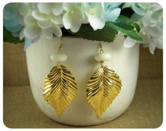 White Coral, Brass Leaf Earrings