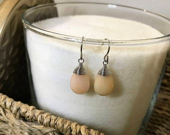 Wire wrapped apricot gemstone earring