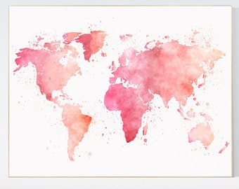 Pink World Map, watercolor map, baby girl nursery, pink watercolor world map wall art, gift, baby nursery room decor, gift, pastel colors