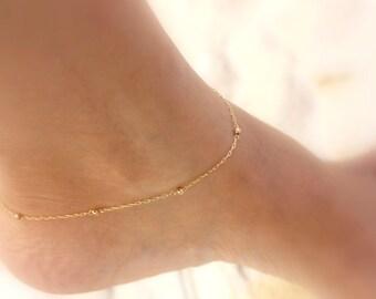 Gold anklet bracelet, ankle bracelet , gold ankle bracelet, gold filled bracelet, satellite anklet. anklet bead bracelet,