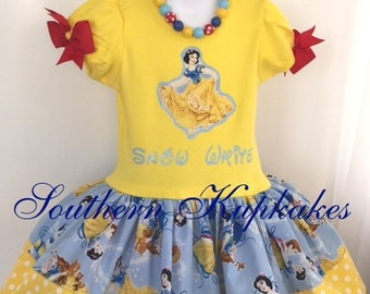 Disney SNOW WHITE Inspired 2pc. Twirl DRESS Custom All Sizes Available Boutique Pageant Birthday Party Vacation Land World Costume Holiday