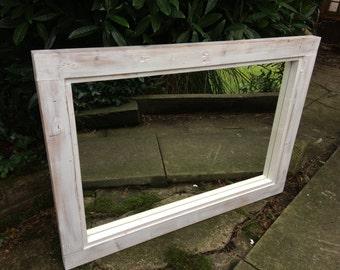 Large sanded white mirror wood grain mirror