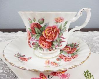 Royal Albert Centennial Rose Floral English Bone China Teacup and Saucer