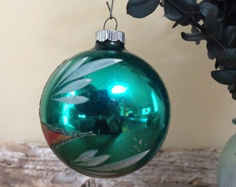 Vintage Shiny Brite Glitter Hand Painted Green Glass Ball Ornament