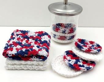Red, White, and Blue Crochet Washcloth, Dishcloth Set of 3    [090]
