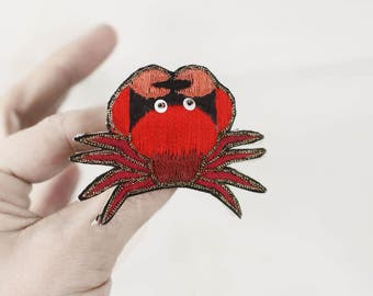 Embroidered crab brooch, hand stitched nautical