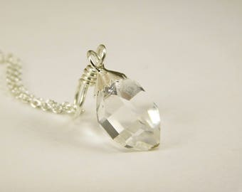 Extra Faces NY Herkimer Diamond Quartz Crystal Pendant- Herkimer Diamond Sterling Silver -Herkimer Jewelry- Double Terminated Crystal