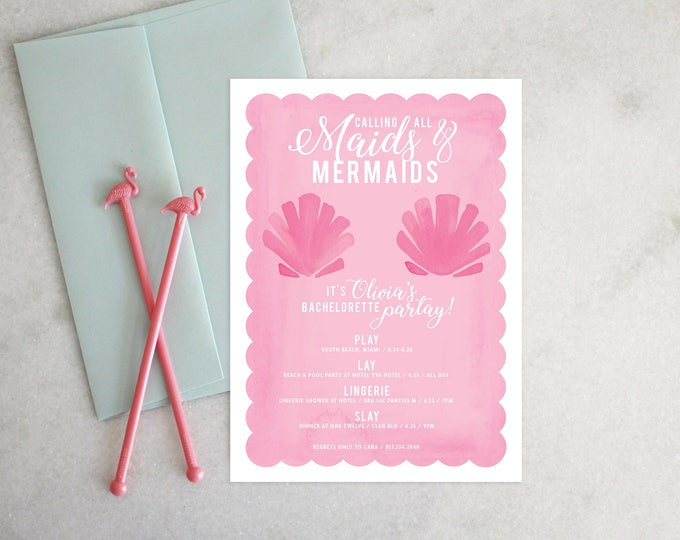 PRINTABLE Bachelorette Party Invitation | Maids & Mermaids