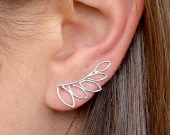 Leaf Climber Earrings Ear Climbers 925 Sterling Silver Flower Geometric Design Zen Minimalist Yoga Jewelry Yoga Jewellery UK