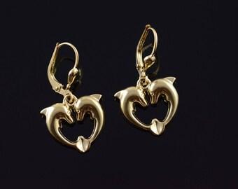14k 3D Dolphin Heart Lever Back Dangle Earrings Gold