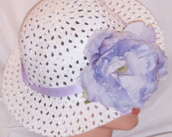 Easter Hat Spring Hat Easter Bonnet Teaparty Hat Girls Little Girls White w/Lavendar Ribbon and Flower