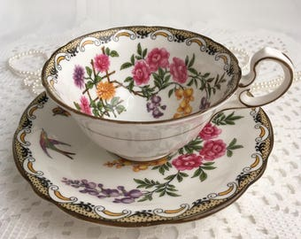 Reserved Aynsley China Tea Cup and Saucer, Mikado, Hand Painted, Reg No 715040, 1926-34