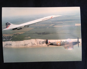 """Concorde and Spitfire postcard, """"Speedbird Salutes The Few"""", Commemorative Aviation post card, White Cliffs of Dover Aerial View"""