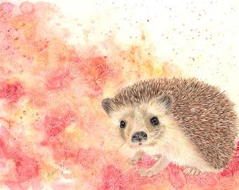 Hedgehog print – hedgehog art, hedgehog nursery wall decor, hedgehog watercolor, hedgehog lover art gift, colorful hedgehog