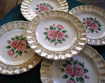 Vintage Mid-Century Sebring Pottery Co. China Bouquet Bread and Butter Plate with pink roses and 22K gold trim