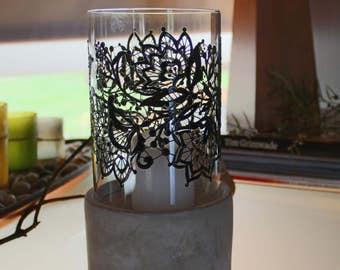 Candle holder black lace. Handpainted glass candle holder. Gift for any occasion. Romantic accessory gift for wedding