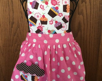 Child's Apron Cupcake Shaped Pocket