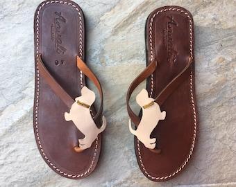 NEW Bassethound shoes flip flops sandals dog gift summer leather