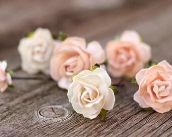 Peach Flower Hair Pins - Bridal Hair Pins Champagne - Hair Bobby Pins - Wedding Flower Crown - Hair Picks Floral - Bridal Hair Accessories