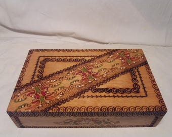 Vintage Handmade Wooden Jewelry Box - NEW