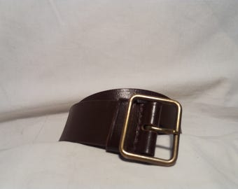 Vintage 1980's Swiss Army Dark Brown Leather Officer's Belt - NEW