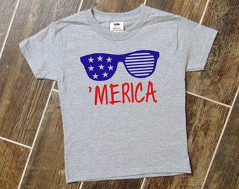 MERICA Fourth of July Toddler and Kids Shirts