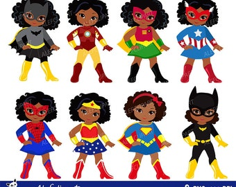 Girls African American in superhero costume. Instant Download.