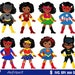 50% OFF SALE Girls African American in superhero costume. SVG, Silhouette Cut Files, Cricut Cut Files -Personal and Commercial Use .