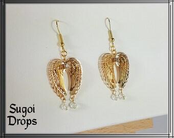 Golden wings as earrings