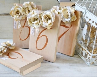 Great Gatsby Wedding Table Numbers Vintage Book Paper Flowers Lace Wood Art