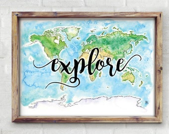 Explore World Watercolor Map - Giclée Print of Hand Painted Original Art