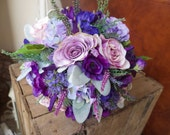 Purple silk wedding bouqu...