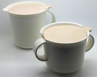 Vintage Tupperware Cream And Sugar Bowl Set Ivory Rose White 10 oz 12 oz Parts 2309 2310 2311 Made In USA