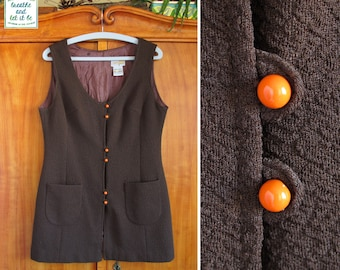 60s 70s Brown Orange Button Up Mod Mini Dress | Size M | Vintage Sleeveless Textured Mod Upper Dress | breathe and let it be