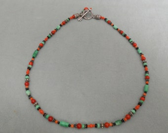 Necklace Coral, Malachite, Onyx and Sterling Silver.    Stock #(1470).