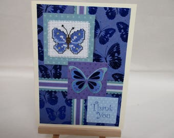 Thank you Card Cross stitched