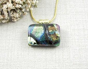 Small Dichroic Glass Pendant - Petite Multi Layered Fused Dichroic Necklace - Little Fused Dichroic Glass Pendant - Handmade Jewelry