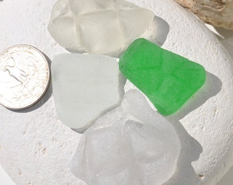 Rare Patterned Sea Glass, White, Green, Authentic  Sea Glass, Genbuine  Sea Glass, Jewellery Supplies, Surf Tumbled Beach Glass