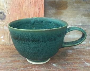 Deep Variegated Green Porcelain Latte Cup - Wheel Thrown Coffee Mug Tea Cup 14 oz