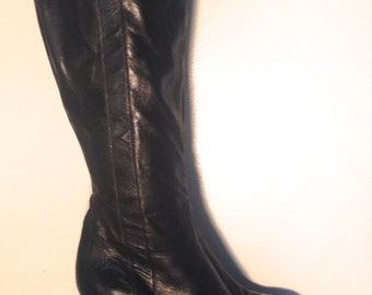 Black leather boots - Women's boots - Vintage boots - High heel boots
