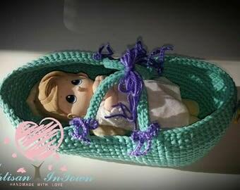 Crochet Baby doll basket-crochet basket - crochet doll basket - birthday gift -