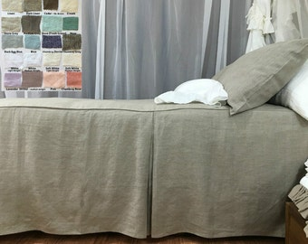 Tailored Bed Cover custom made in natural linen, White, Gray, Blue, Pink, Stripe, Chevron, over 40 colors and patterns