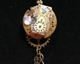 vintage watch steampunk necklace
