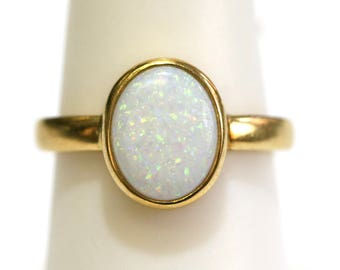 Oval Opal Vintage Ring Bezel Set 18kt Yellow Gold