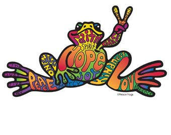 "Peace Frogs Hope Sticker ~ 6"" x 3"" ~ High Quality Vinyl ~ Made in the USA!"
