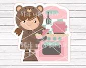 Toffee the bear girl COOKING planner stickers || Erin Condren Life Planner, Kikki K, Plum Paper Planner